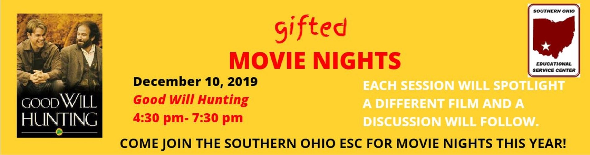 December 10, 2019 Gifted Movie Nights Flyer